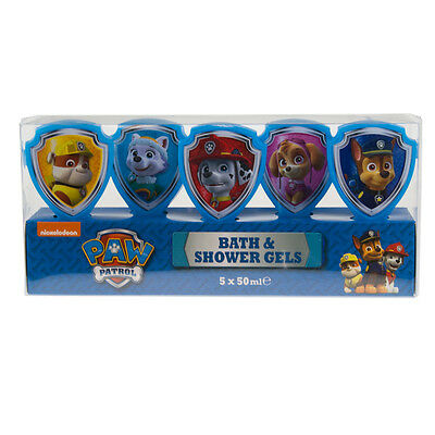 Paw Patrol 5x Bath and Shower Gels Gift Set Rubble Marshall Chase Everest Skye