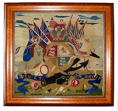 Antique British Woolie Ca 1864 ROYAL COAT OF ARMS Admiral of the Red