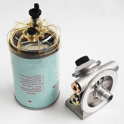 Hand Priming Pump Fuel Filter Mounting Base 3/8'' NPT 1-14'' Spin On Mount