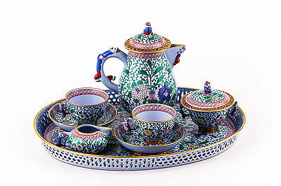 Herend, Emaille Rose Tupini (Erst) Coffee Set For Two, Handpainted Porcelain !