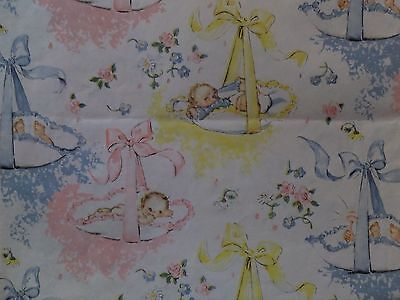 Vintage Blue Pink Yellow Newborn Babies Baby Shower Gift Wrap Wrapping Paper