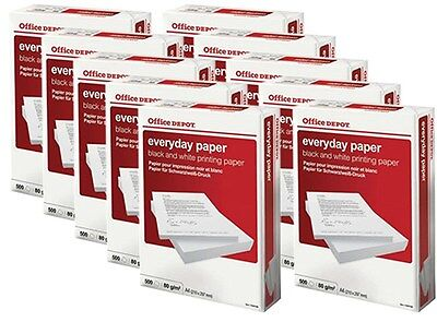 10 x Reams A4 White Everyday Paper 80gsm Inkjet & Laser Printer/Copier P-0113#