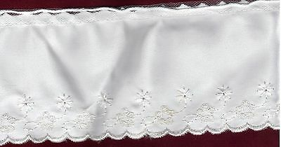 Reduced - White Satin Trim With Embroidered Edge - 11 Yards +