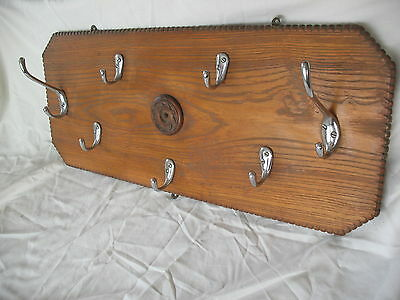 Old vintage pine farmhouse rustic wall mounted 7 coat hook coat rack