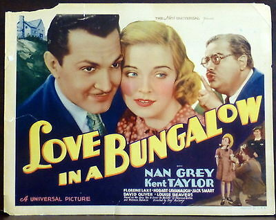 Nan Grey Love in a Bungalow ORIGINAL 1930s Lobby TITLE Card Kent Taylor