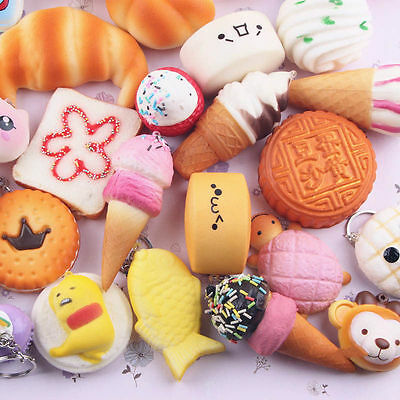 10pcs Cute Jumbo Soft Random Squishy Bread/Panda/Cake/Buns Cell Phone Strap Gift