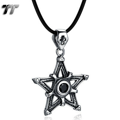 High Quality TT 316L Stainless Steel Star Pendant Black CZ Necklace(NP326D)