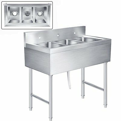 Heavy Duty Three Compartment Stainless Steel Commercial Kitchen Utility Sink New
