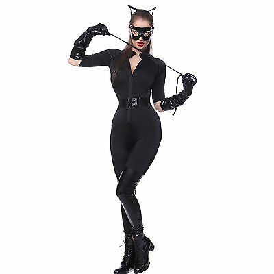 Ladies Catwoman Batman Dark Knight Rises Super Hero Fancy Dress Costume Catsuit