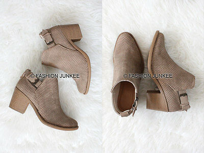 TAUPE STONE TEXTURED ANKLE BOOTIES Shoes Suede Low Heels Boots Perforated 5-10