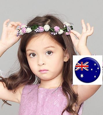 Women flower Girl Fairy wedding Bride Purple Hair Headband Crown Prop Garland