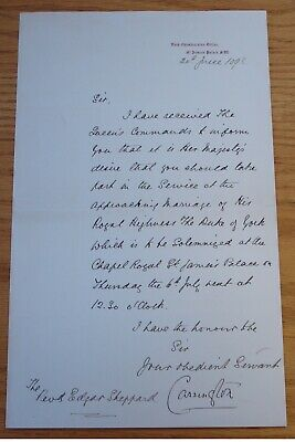 Lord Carrington Command Queen Victoria Marriage Duke Of York George V