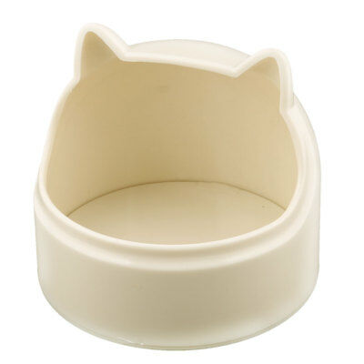 Doggie Plastic Cat Head Shape Food Water Drinking Feeder Pet Bowl Dish Beige
