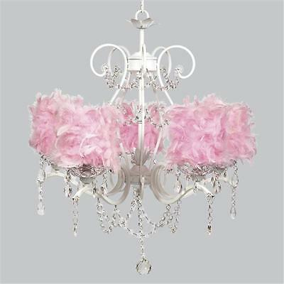 Jubilee Collection White 5 Light Grace Chandelier with Pink Feather Drum Shades