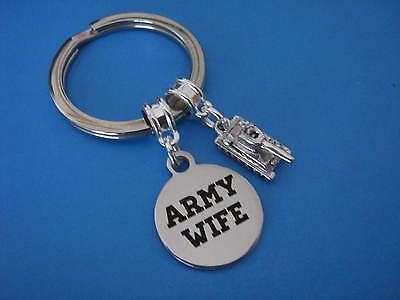 Army Wife Keyring Tank Charm Military Armed Forces Wife Keychain