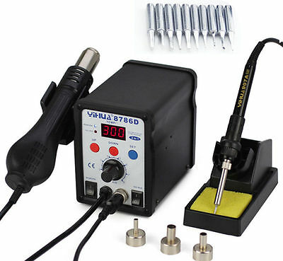 Desoldering Soldering Rework Station Hot Air Gun 3 Nozzles 10 Tips 8786D