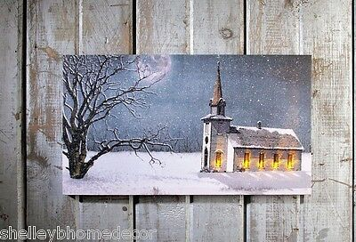 Winter Church Lighted Canvas LED Picture Radiance Christmas ohwnrc 71347 NEW