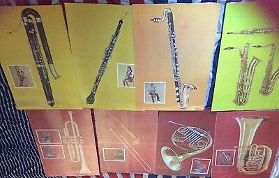 Vintage Meet The Instrument (23 Posters) Orchestra Band Bowmar 1961 Teaching Aid
