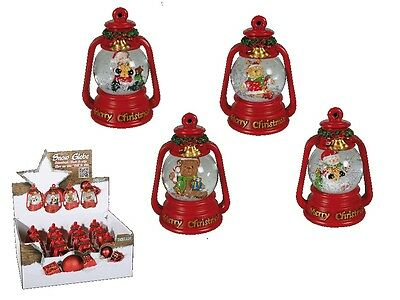 Christmas Snow Globe - Merry Christmas Figurine Santa Red Green Snow Shake