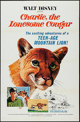 CHARLIE THE LONESOME COUGAR original 1967 DISNEY one sheet movie poster 27x41