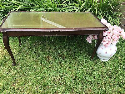 Pretty Vintage Rectangular Coffee Table With Glass Top  Leather
