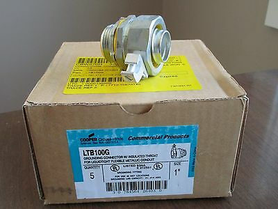"""5 Crouse Hinds LTB100G 1"""" Insulated Grounding Connector for Liquid Tight Conduit"""
