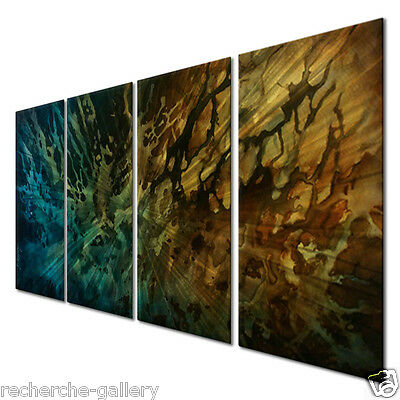 Metal Art Set Brushed Metal Artwork Contemporary Wall Sculpture Degraded