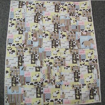 New baby crib quilt Farm cow horse sheep pig chicken