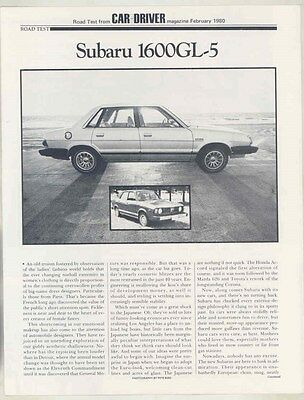 1980 Subaru 1600GL 5 Roadtest Brochure my6440