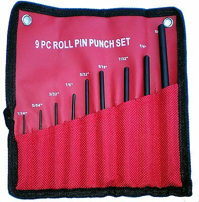Grip 9 Pc Forged Steel Roll Pin Punch Set in Roll Up Case Rifle Gunsmithing 9pc
