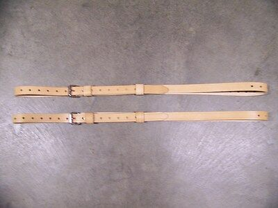 LEATHER LUGGAGE STRAPS for LUGGAGE RACK/CARRIER~~(2) SET~~NATURAL~~S.S. BUCKLES