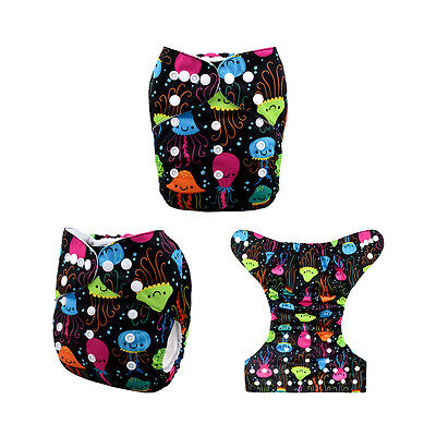 AlvaBaby Marine Organism Free size Washable Reusable Cloth Diaper Nappy+1Insert