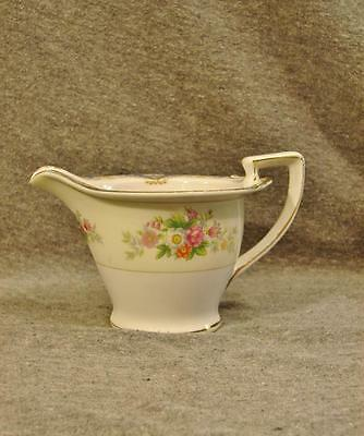Empress China (Japan) Creamer Blue Edge Tan Scrolls Flowers EMP26 Cream Pitcher