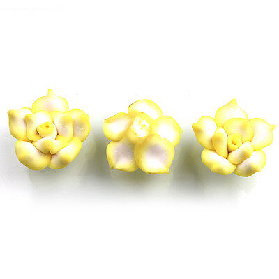 30pcs New Charms Light Yellow FIMO Polymer Clay Rose Flower Spacer Beads 25mm D