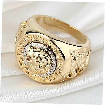 Fashion Mens 19mm Noble Band Ring Cool Lion Head 18K Yellow Gold Plated XP
