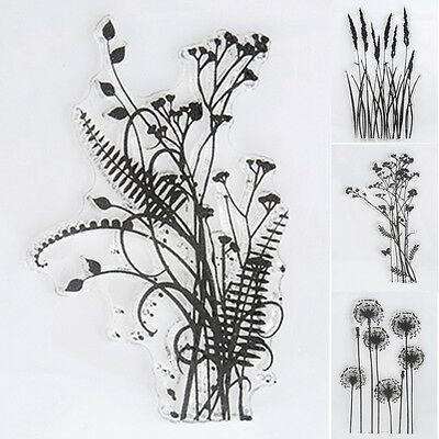 Scrapbook DIY Flower & Grass Transparent Silicone Clear Rubber Stamp Sheet Cling
