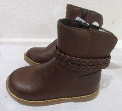 baby Gap Girl  Brown Braided Faux Leather Boots 7 8 9 NWT