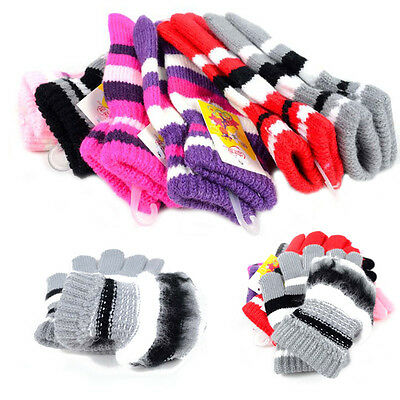 Children Girls Boys Kids Magic Elastic Mittens Knitted Gloves Winter Warmer New