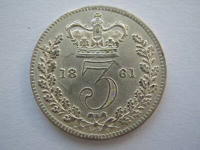 1861 Young Head silver Threepence GVF
