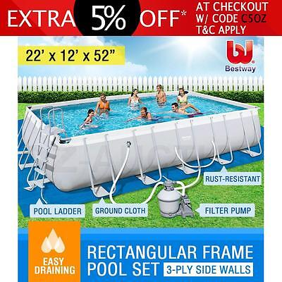 22ft Bestway Steel Frame Above Ground Rectangular Swimming Pool Sand Filter Pump