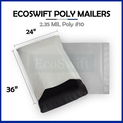 1 24 x 35 LARGE White Poly Mailers Shipping Envelopes Self Sealing Bags 2.35 MIL