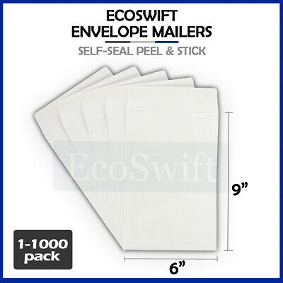 "1-1000 ""EcoSwift"" White Self-Seal Catalog Kraft Paper Envelope 28 lb. 6"" x 9"""