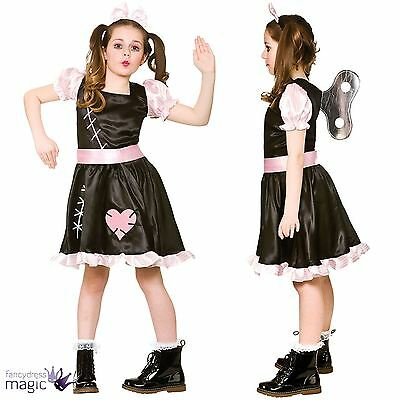 Girls Wind Up Doll Cursed Living Doll Dead Dolly Halloween Fancy Dress Costume