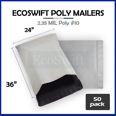 50 24 x 36 LARGE White Poly Mailers Shipping Envelopes Self Sealing Bags 2.35MIL