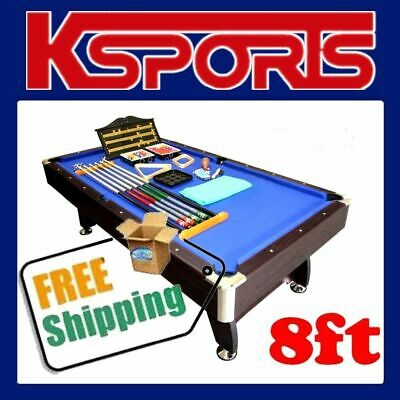Pub Size Pool Table 8Ft Traditional Snooker Billiard Table Blue - Brand New