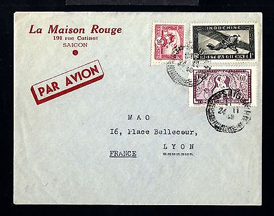 12741-INDOCHINA-AIRMAIL COVER SAIGON to LYON (france)1948.WWII.French.INDOCHINE.