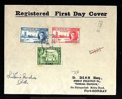 12736-YEMEN-REGISTERED FDC.COVER ADEN to FORT-BOMBAY (india)1946.WWII.british
