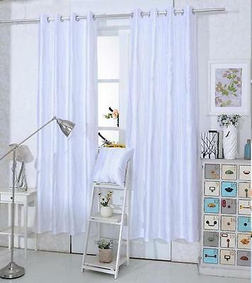 CLEARANCE WHITE Glitter Sparkly Diamante Eyelet Ring Top Voile Curtain Panel