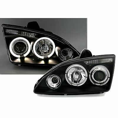 Ford Focus Mk2 2004-2008 Black Angel Eyes Halo Projector Headlights Pair