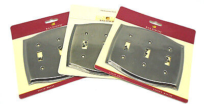 3 Baldwin 4780-151 Antique Nickel Colonial Triple Toggle Switch Plate 696H